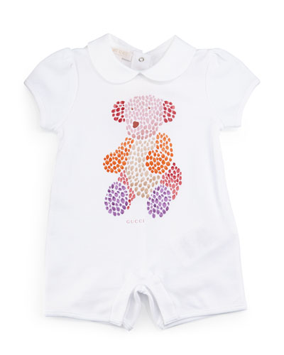 Cap-Sleeve Teddy Bear Playsuit, White, Size 3-18 Months