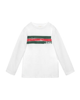 Long-Sleeve Logo-Graphic Jersey Tee, Size 4-12