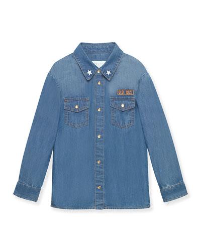 Long-Sleeve Denim Shirt, Blue, Size 4-12
