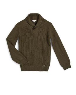 Crochet Wool Pullover Sweater, Green, Size 4-12