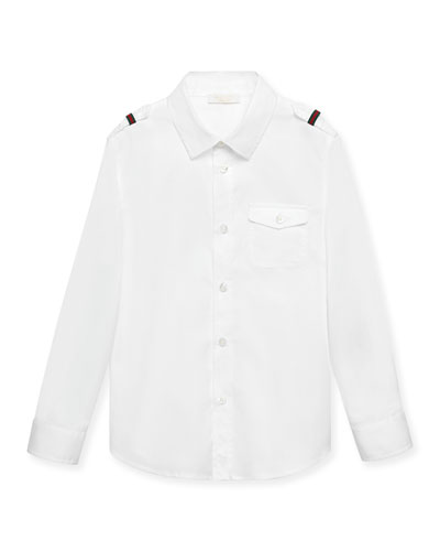 Poplin Button-Front Shirt, White, Size 4-12