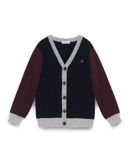Wool V-Neck Colorblock Cardigan, Navy, Size 4-12