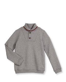 Wool Shawl-Collar Pullover Sweater, Light Gray, Size 4-12