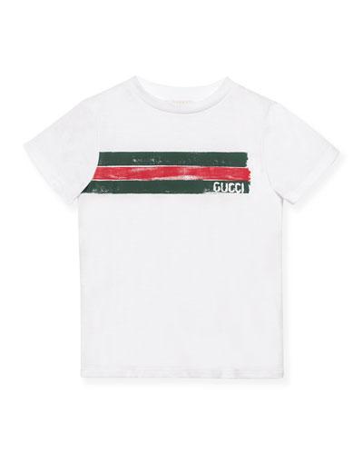 Short-Sleeve Logo Jersey Tee, Optic White, Size 4-12