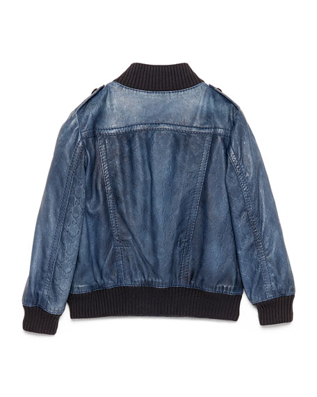 Guccissima-Embossed Leather Bomber Jacket, Navy, Size 4-8