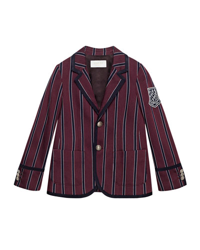 Striped Prep School Jacket, Red/Blue, Size 6-12