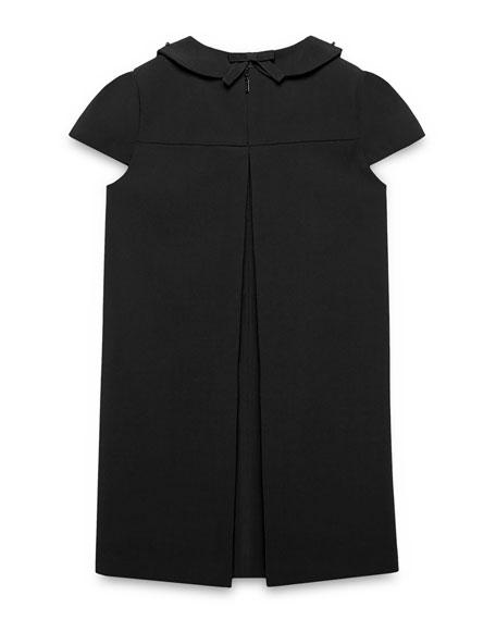 Cap-Sleeve Wool Gabardine Shift Dress, Black, Size 4-12