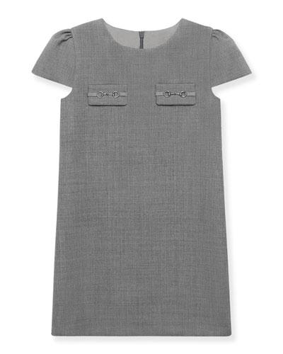 Cap-Sleeve Wool Shift Dress, Size 4-12