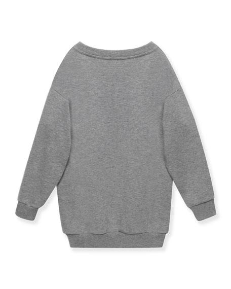 Knit Doll Sweatshirt, Light Gray, Size 4-12