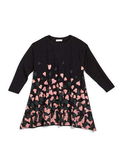 Long-Sleeve Heart-Print Oversize Tee, Black, Size 4-12