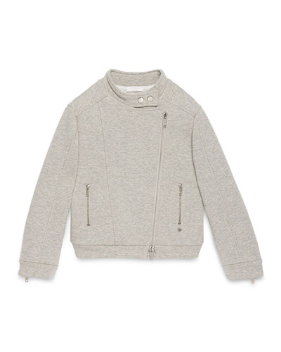 Cotton Biker Jacket, Light Gray, Size 4-12