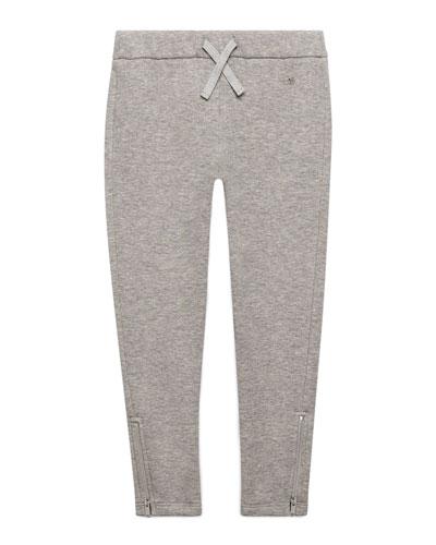 Slub-Knit Track Pants, Light Gray, Size 4-12