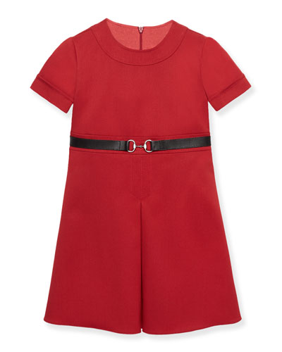 Short-Sleeve Belted A-Line Ponte Dress, Red, Size 6-12