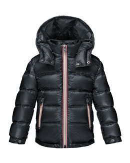Gaston Web-Trim Down Puffer Coat, Navy, Size 4-6