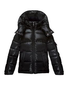Maya Matte Zip-Front Puffer Coat, Black, Size 4-6