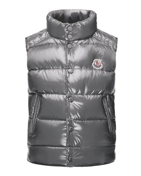 Moncler Tib Down Puffer Vest, Gray, Size 4-6