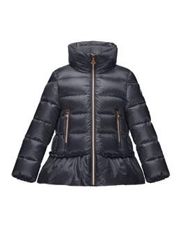 Anet Ruffle-Trim Puffer Jacket, Navy, Size 4-6