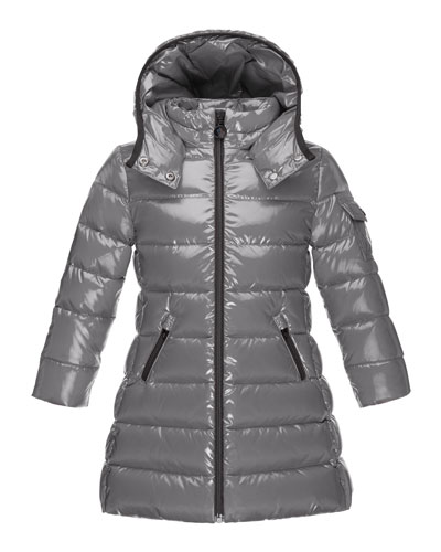 Moka Down Puffer Coat, Platinum, Size 4-6