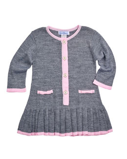 Long-Sleeve Button-Front Sweaterdress, Gray/Pink, Size 6-18 Months