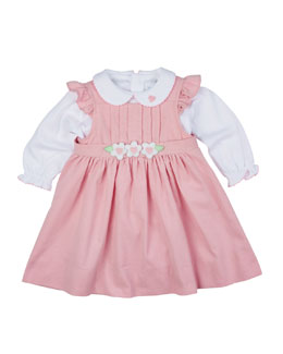 Pleated Corduroy Jumper & Knit Long-Sleeve Blouse, Pink/White, Size 6-24 Months
