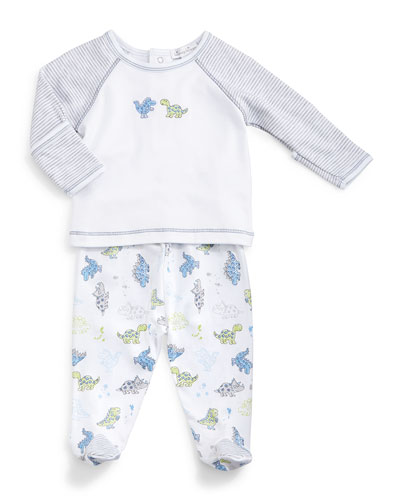 Dynamic Dinos Raglan Top & Footed Pants, White/Gray/Blue, Size Newborn-9 Months
