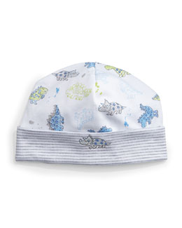 Dynamic Dinos Pima Baby Hat, White/Blue