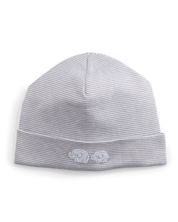 Baby Elephants Striped Pima Hat, Gray/White