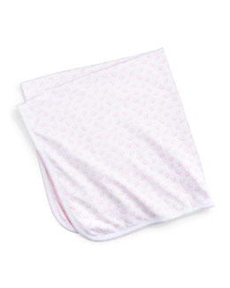 Baby Elephants Reversible Pima Blanket, Pink/White