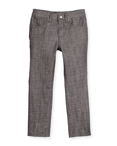 Button-Front Chambray Pants, Washed Gray, Size 2-7