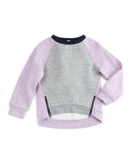 Fleece-Lined Colorblock Zip-Trim Sweatshirt, Blush/Gray, Size 2-6