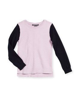 Colorblock Chevron Sweater, Blush/Black, Size 2-6