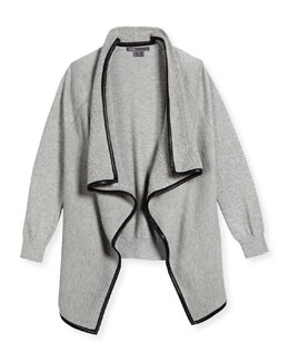 Ribbed Open-Front Cardigan, Steel, Size S-XL