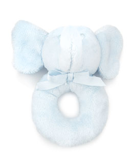 Plush Elephant Rattle, Blue