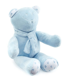 Plush Teddy Bear w/ Alphabet Print, Blue