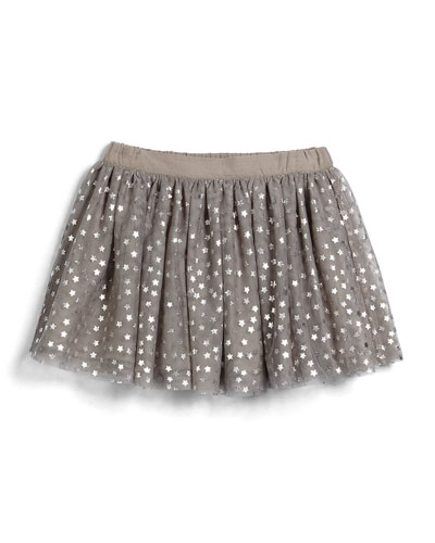 Honey Star-Print Tulle Skirt, Light Gray, Size 4Y-10Y
