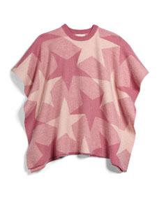 Stella McCartney Agnes Wool Star-Print Poncho, Rose, Size 8Y-14Y