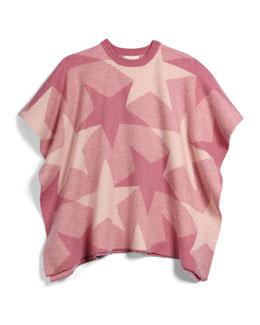 Agnes Wool Star-Print Poncho, Rose, Size 8Y-14Y