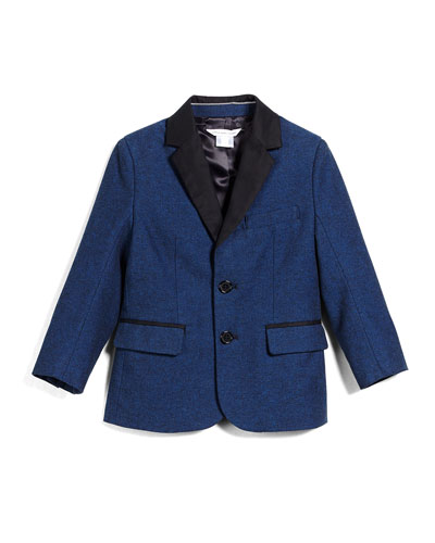 Trim-Fit Cotton-Blend Sport Coat, Navy, Size 4-12