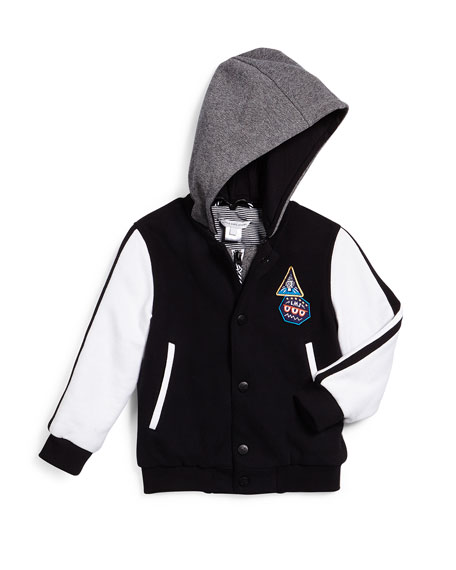 Hooded Colorblock Varsity Jacket, Black/White, Size 4-12