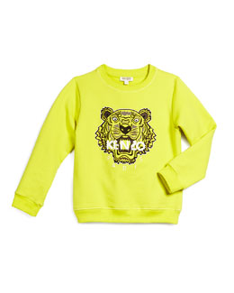 Tiger-Embroidered Sweatshirt, Lime, Size 6-10