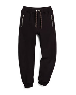 Zip-Trim Track Pants, Black, Size 6-10
