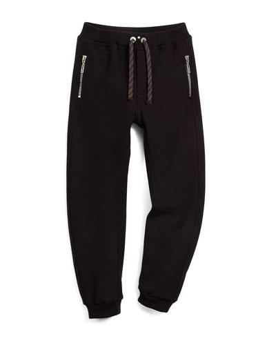 Zip-Trim Track Pants, Black, Size 6-10