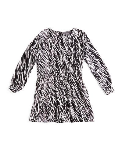 Long-Sleeve Printed Dress, Black/White, Size 2-6