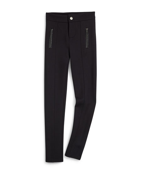 Faux-Leather-Trim Ponte Ski Pants, Black, Size 7-14
