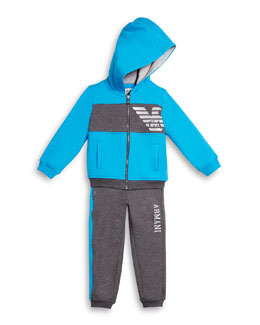 Hooded Two-Piece Track Suit, Gray/Blue, Size 3-8