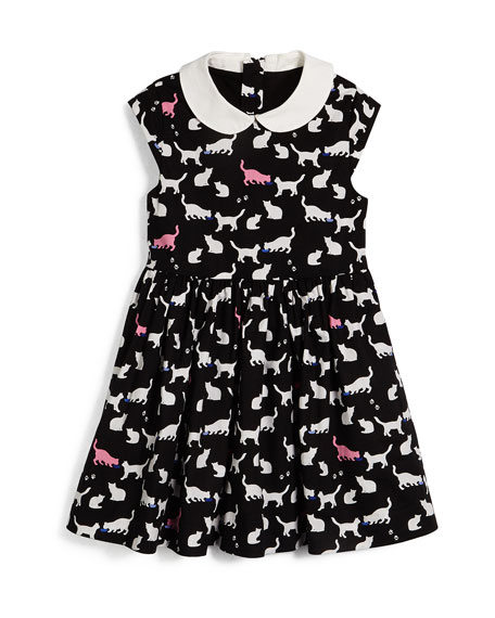 kimberly sleeveless sateen cat-print dress, black/white, size 2-6