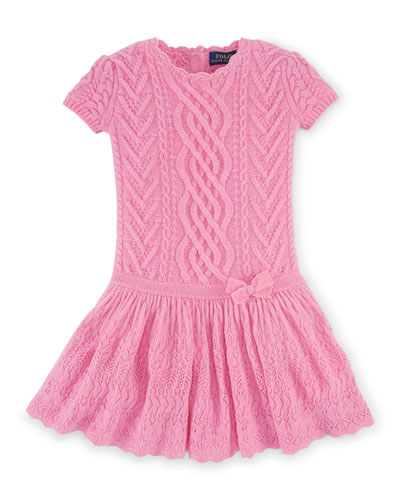 Cashmere Cap-Sleeve Fit-and-Flare Sweaterdress, Pink, Size 2T-6X