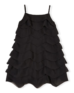 Sleeveless Tiered Chiffon Dress, Black, Size 2T-6X