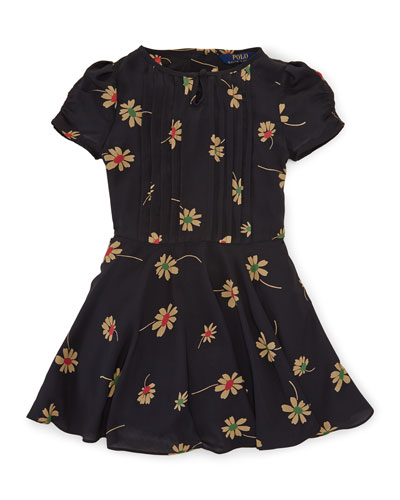 Pleated Floral A-Line Dress, Black, Size 2T-6X