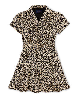 Cap-Sleeve Floral A-Line Dress, Black, Size 2T-6X